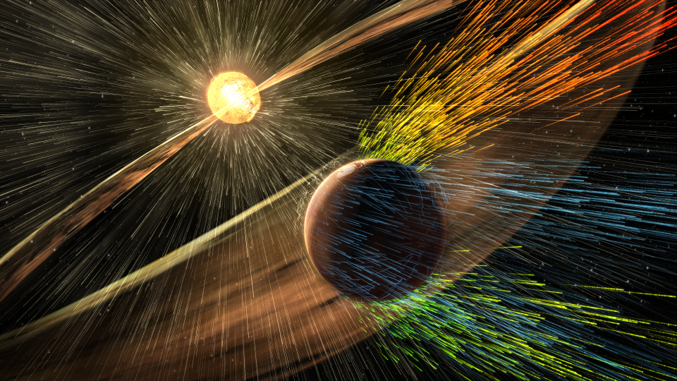 Artist's rendering of a solar storm hitting Mars and stripping ions from the planet's upper atmosphere. Image credits: NASA/GSFC.