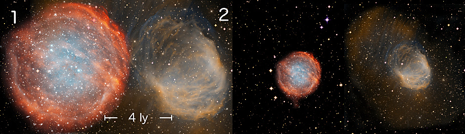 A comparison of the distance scales of two highly evolved nebulae, numbered (1) PuWe 1, (2) Abell 21. Previous distance scales were often inaccurate for the largest, most evolved planetary nebulae, which are the most common type in the galaxy. The left panel shows the physical sizes of two nearby nebulae, presented at a common scale and using the authors' new calculations. The scale bar represents 4 light-years. The right panel shows the physical sizes calculated from a commonly used older distance scale, which considerably underestimates the distances and hence sizes of these objects. Image credit: NOAO/AURA/NSF, Ivan Bojicic, David Frew, Quentin Parker (HKU).