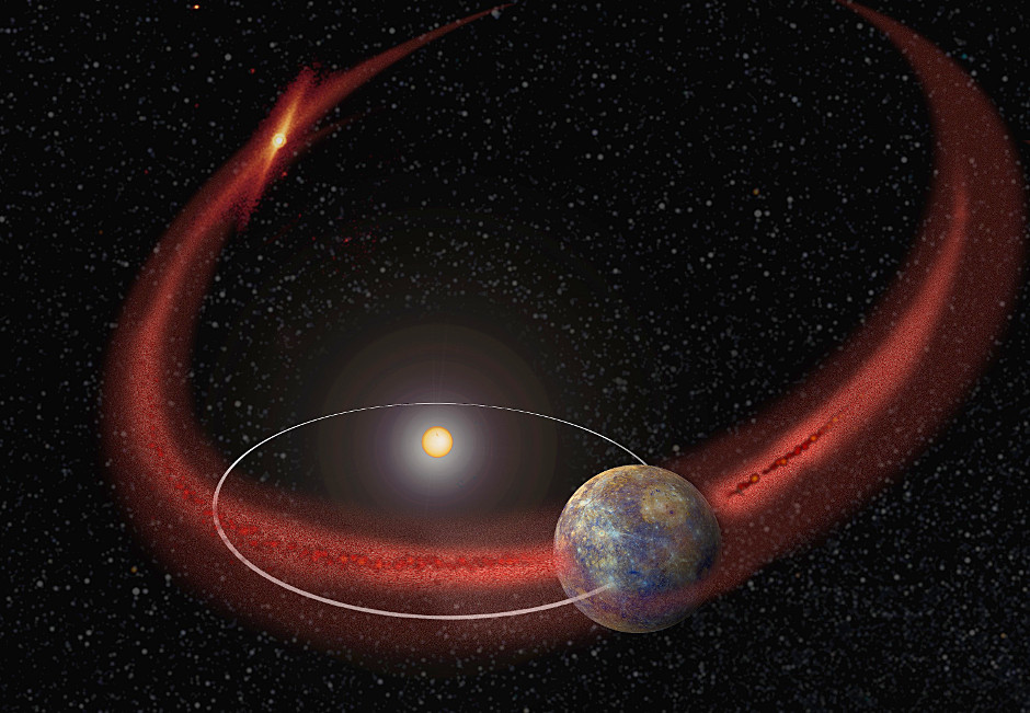 In this artist's concept, Mercury appears to undergo a recurring meteoroid shower when its orbit crosses the debris trail left by comet Encke. Image credits: NASA/Goddard.