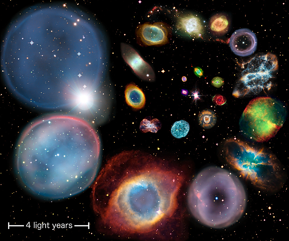 A collage showing 22 individual planetary nebulae artistically arranged in approximate order of physical size. The scale bar represents 4 light-years. Each nebula's size is calculated from the authors' new distance scale, which is applicable to all nebulae across all shapes, sizes and brightnesses. The very largest planetary nebula currently known is nearly 20 light-years in diameter, and would cover the entire image at this scale. Image credit: ESA/Hubble & NASA, ESO, Ivan Bojicic, David Frew, Quentin Parker.