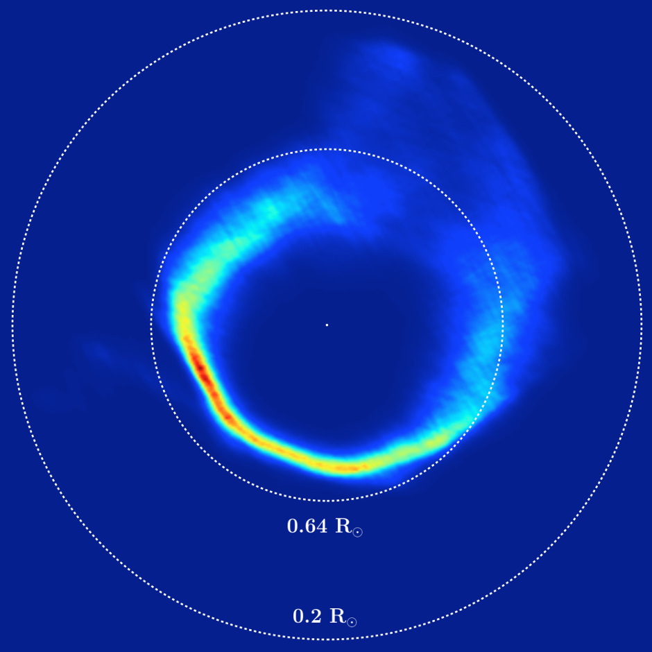 "This plot is an unusual type of image, showing the velocities of the gas in the disc around the white dwarf SDSS J1228+1040, rather than its position. It was mapped out from Very Large Telescope observations over a period of 12 years and by applying a method called Doppler tomography. The dashed circles correspond to material in circular orbits at two different distances from the star. This appears ""inside out"" because material moves faster in close-in orbits. Image credit: University of Warwick/C. Manser/ESO."