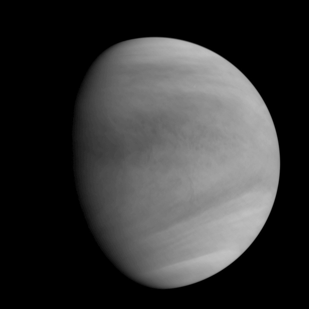 This image of Venus was captured by the Akatsuki spacecraft's Ultraviolet Imager (UVI), at around 5:19amGMT (2:19pmJST) on 7December at the Venus altitude of approximately 44,700miles (72,000kilometres). Image credit: JAXA.