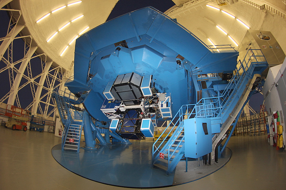 The Gemini Planet Imager (GPI) mounted on the Gemini South telescope on Cerro Pachón in Chile. Image credit: Gemini Telescopes.