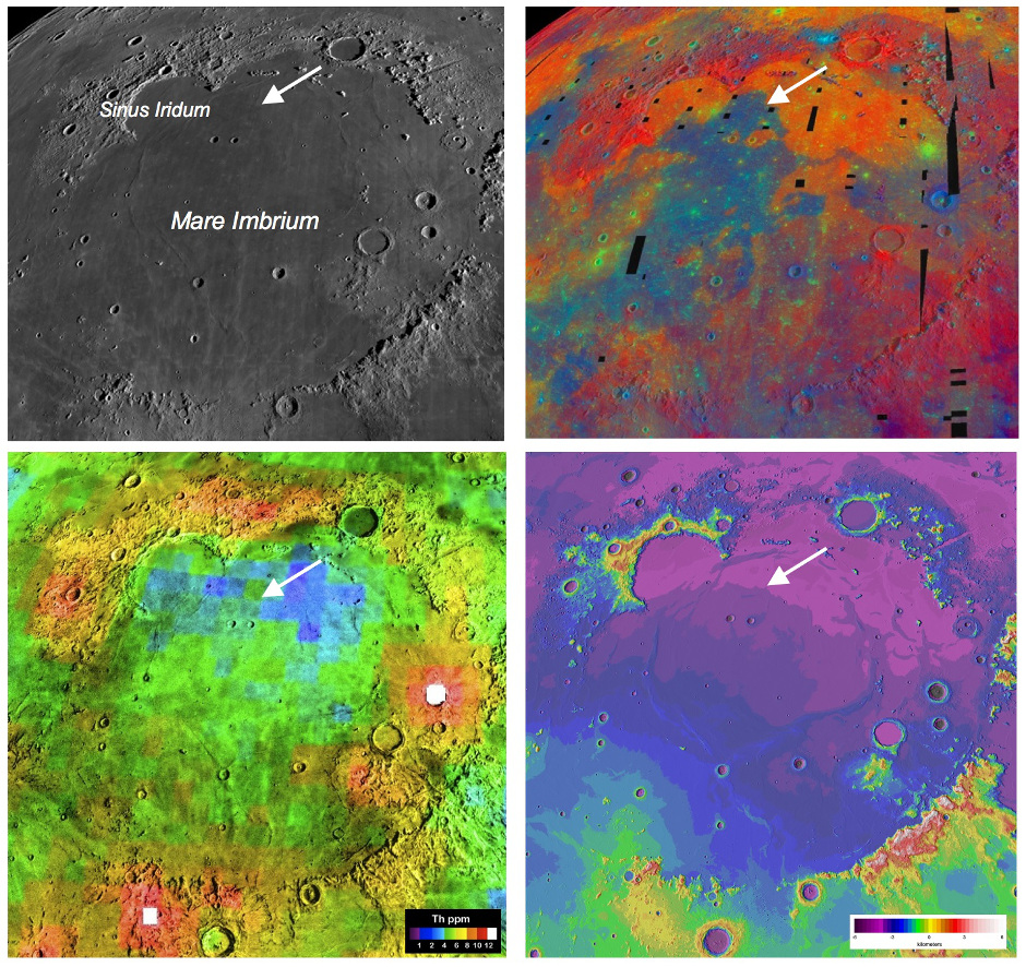 Four views of the Mare Imbrium basin and the Chang'e-3 landing site demonstrate how different the Moon looks to different types of remote sensing, underscoring the need for ground truth to calibrate the orbital observations. Image credit: NASA/LPI.