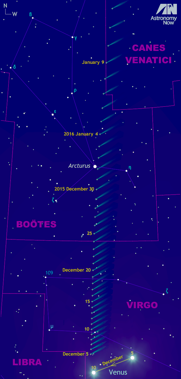 Following its conjunction with Venus on 7—8December 2015, Comet Catalina (C/2013US10) rapidly heads north through the constellation Virgo, crossing the border into Boötes on Christmas Eve. It passes within ½degree of the brightest star in the northern celestial hemisphere — magnitude +0.1 Arcturus — on the morning of New Year's Day 2016. Click the graphic for a greyscale version suitable for printing and use outside. AN Graphic by AdeAshford.