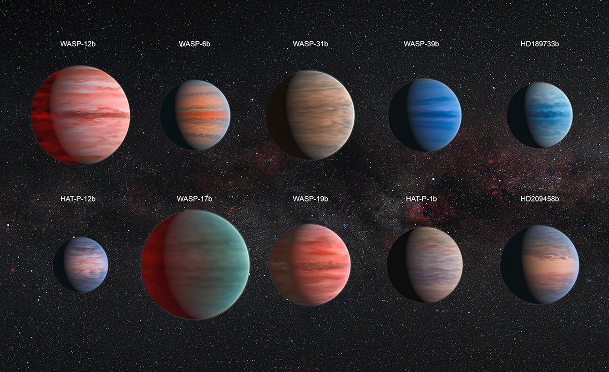 This image shows an artist's impression of the ten hot Jupiter exoplanets studied by astronomer David Sing and his colleagues using the Hubble and Spitzer space telescopes. From top left to lower left, these planets are WASP-12b, WASP-6b, WASP-31b, WASP-39b, HD 189733b, HAT-P-12b, WASP-17b, WASP-19b, HAT-P-1b and HD 209458b. The colours of the planets are for illustration purposes only, but the sizes are to scale with each other. Image credits: NASA, ESA, and D. Sing (University of Exeter).