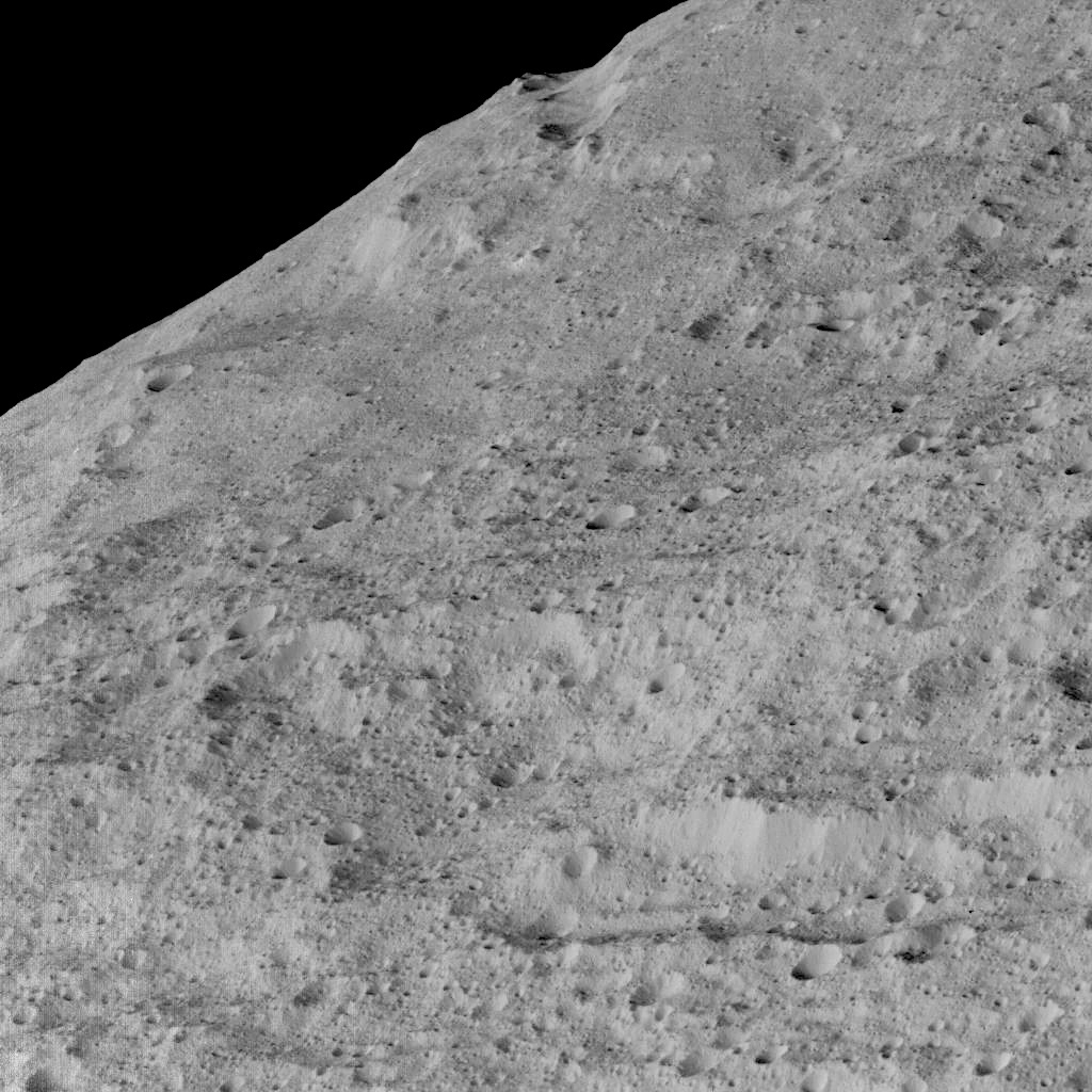 This view of Ceres, taken by NASA's Dawn spacecraft on 10December, shows an area in the southern mid-latitudes of the dwarf planet. Image credit: NASA/JPL-Caltech/UCLA/MPS/DLR/IDA.
