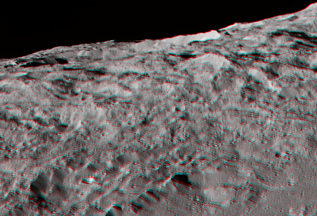 This 3-D image, best viewed with red-blue glasses, shows a portion of Ceres' southern hemisphere. Image credits: NASA/JPL-Caltech/UCLA/MPS/DLR/IDA.