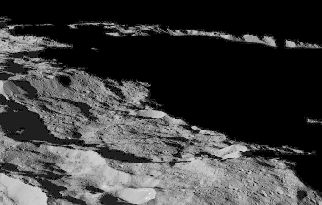 This part of Ceres, near the south pole, has such long shadows because, from the perspective of this location, the sun is near the horizon. Image credit: NASA/JPL-Caltech/UCLA/MPS/DLR/IDA.