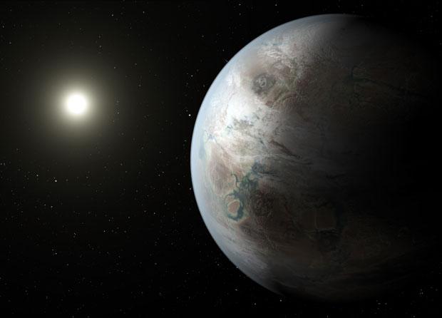 An artist's impression of Kepler-452b. Image: NASA Ames/JPL–Caltech/T Pyle.