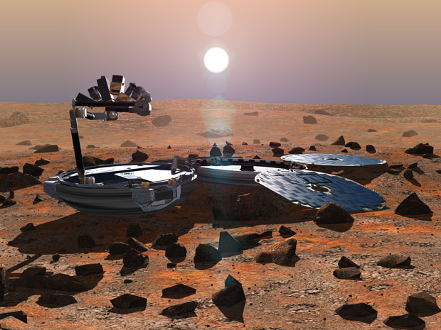 An artist's impression of what Beagle 2 would have looked like on the surface of Mars. Image: ESA.