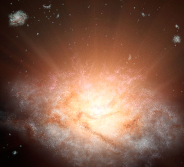 Artwork depicting a dusty galaxy, named WISE J224607.57-052635.0, which is the most luminous ever discovered. Image: NASA/JPL–Caltech.