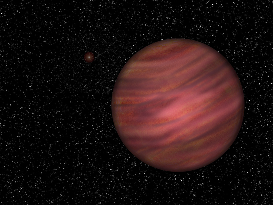 An artist's impression of 2MASS J2126, about 1 trillion (1 million million) kilometres from it's star, TYC9486-927-1. The pair are moving through space together and are both about 104 light-years from the Sun. Image credit: University of Hertfordshire / Neil Cook.