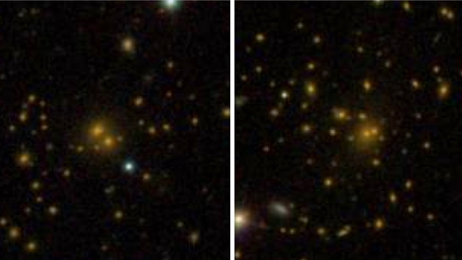 This comparison of galaxy clusters from the Sloan Digital Sky Survey DR8 galaxy catalogue shows a spread-out cluster (left) and a more densely-packed cluster (right). A new study shows that these differences are related to the surrounding dark-matter environment. Image credit: Sloan Digital Sky Survey.