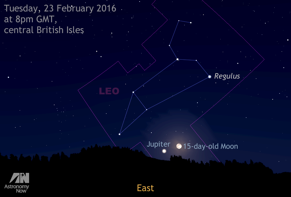 In the early evening of Tuesday, 23 February, the rising waning gibbous Moon — one day after full Moon — lies just 3½ degrees from magnitude -2.5 planet Jupiter low in the eastern sky. The pair can be viewed simultaneously in the field of view of most binoculars against the constellation backdrop of Leo. The Moon's size has been slightly exaggerated for clarity. AN illustration by Ade Ashford.