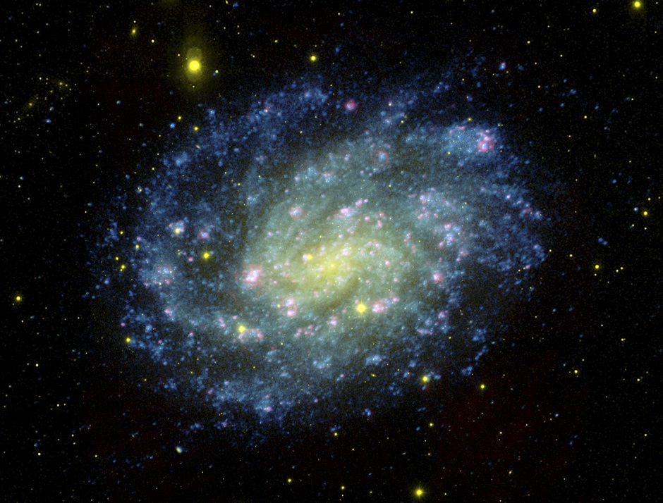 The galaxy NGC300, home to the unusual system known as SN2010da that BreannaBinder and her colleagues studied. The spiral galaxy is over 6million light-years away. Image credit: NASA/JPL-Caltech/OCIW.