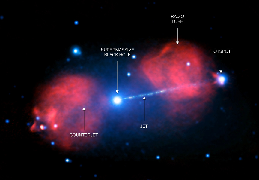 The active galaxy PictorA lies nearly 500 million light-years from Earth and contains a supermassive black hole at its centre. This is a composite radio and X-ray image. Image credit: X-ray: NASA/CXC/Univ of Hertfordshire/M.Hardcastle et al., Radio: CSIRO/ATNF/ATCA.