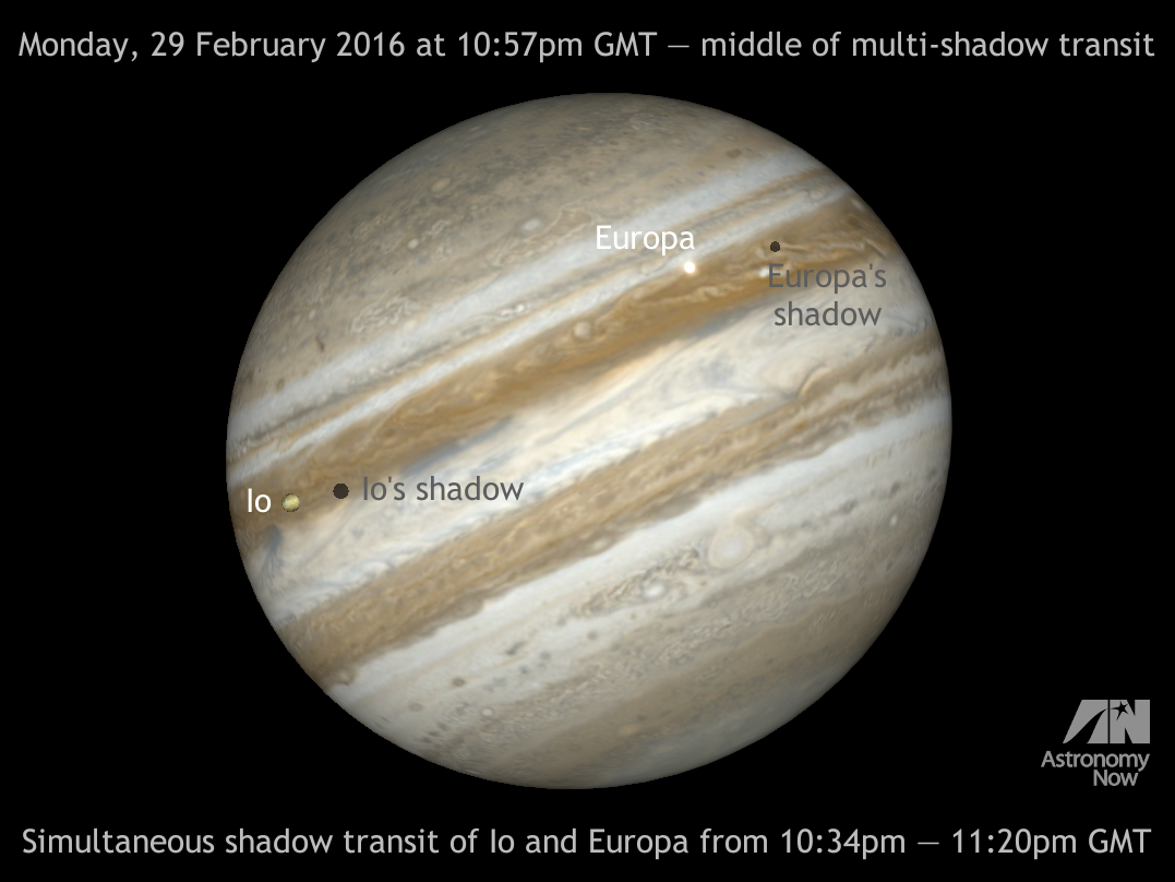 On the night of Monday, 29 February, two of Jupiter's Galilean moons — Io and Europa — perform a simultaneous shadow transit that is visible (weather permitting) from the British Isles. The shadow of Europa crosses Jupiter's cloud tops from 8:33pm to 11:20pm, while Io's shadow drifts across the face of its parent planet from 10:34pm to 12:50am (1 March). Therefore, the shadows of both moons will be seen on Jupiter from 10:34pm to 11:20pm (all times GMT). AN graphic by Ade Ashford.