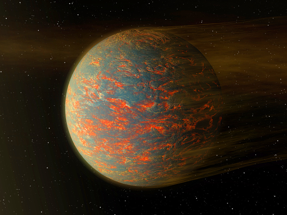 This illustration shows one possible scenario for the rocky exoplanet 55 Cancri e, nearly two times the size of Earth. New Spitzer data show that one side of the planet is much hotter than the other — which could be explained by a possible presence of lava pools. Image credit: NASA/JPL-Caltech.