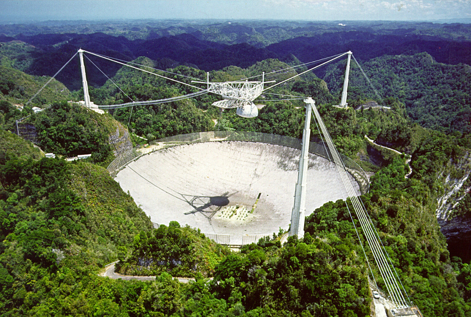 The 305-metre Arecibo Radio Telescope in Puerto Rico. Image credit: NAIC.