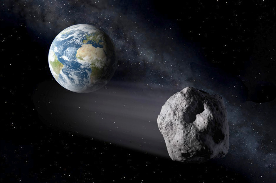 Artist's impression of a Near-Earth Asteroid passing close by Earth. Image credit: ESA.