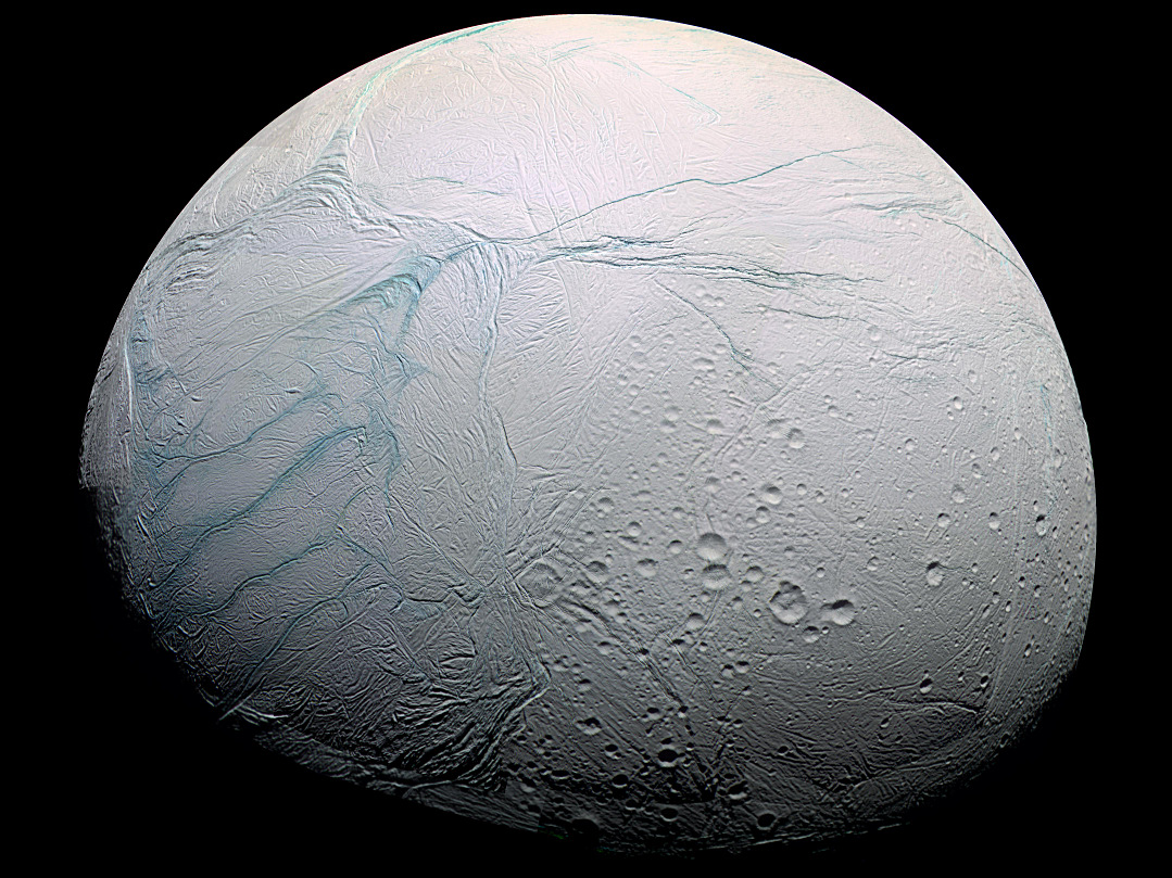 This enhanced colour view of Enceladus shows much of the southern hemisphere and includes the south polar terrain at the left of the image. Scientists at the University of Chicago and Princeton University have published a new study describing the process that drives and sustains this moon of Saturn's long-lived geysers. Image credit: NASA/JPL/Space Science Institute.