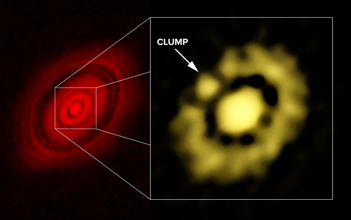 ALMA image of HL Tauri at left; VLA image, showing clump of dust, at right. Image credit: Carrasco-Gonzalez, et al.; Bill Saxton, NRAO/AUI/NSF.