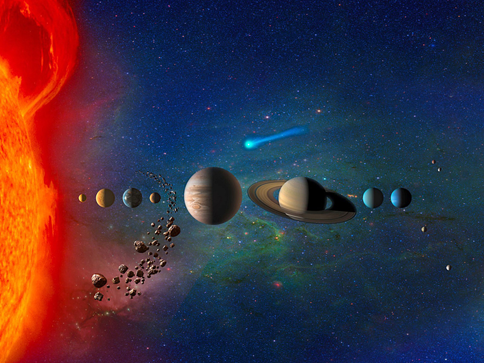 The solar system, illustrated in this artist's conception, contains both large and small objects. Researchers from Duke University have proposed a new explanation for why the size diversity exists. Image credit: NASA.