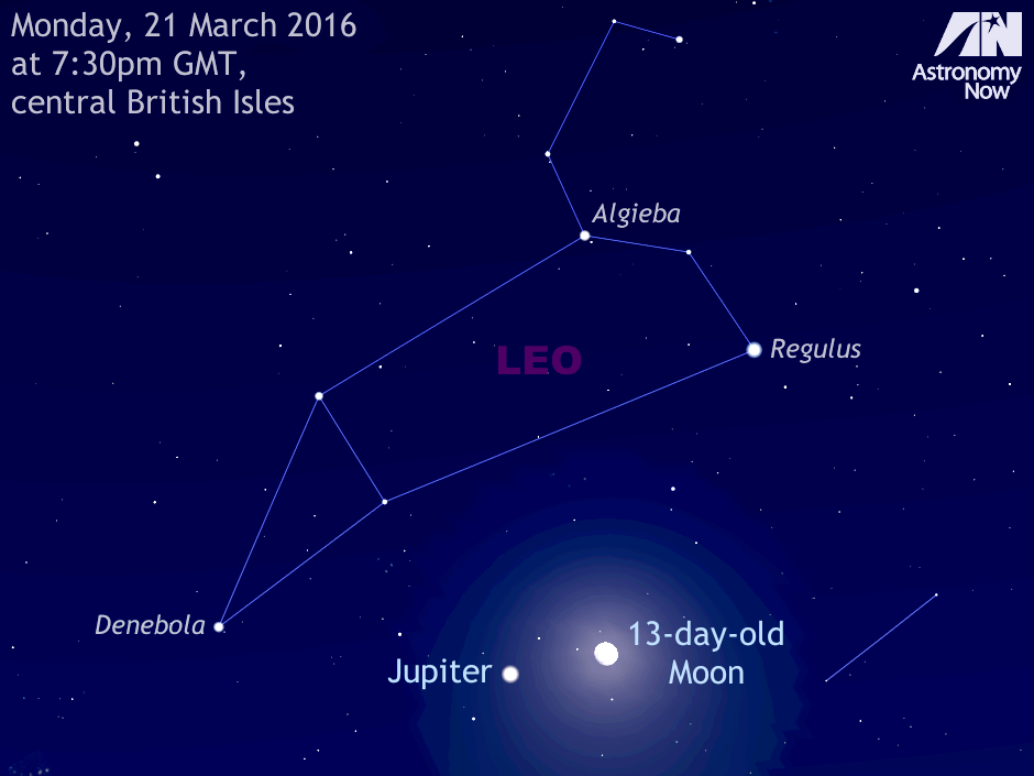 As darkness falls on the evening of Monday, 21 March, observers in the British Isles should look low to the east-southeast to see the 13-day-old waxing gibbous Moon just four degrees to the right of planet Jupiter. The pair lie in southern Leo and will easily fit within the same field of view of most binoculars. For scale, this view is about 40 degrees wide, or twice the span of an outstretched hand at arm's length. Note that the Moon's size has been slightly enlarged for clarity. AN graphic by Ade Ashford.