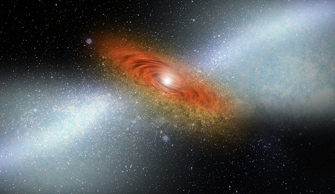 In an artist's conception, heated galactic wind shown in the hazy portion of the picture emanates from the bright quasar at the edge of a black hole, scattering dust and gas. If allowed to cool, that dust and gas would begin to form stars. Illustration credit: Johns Hopkins University.