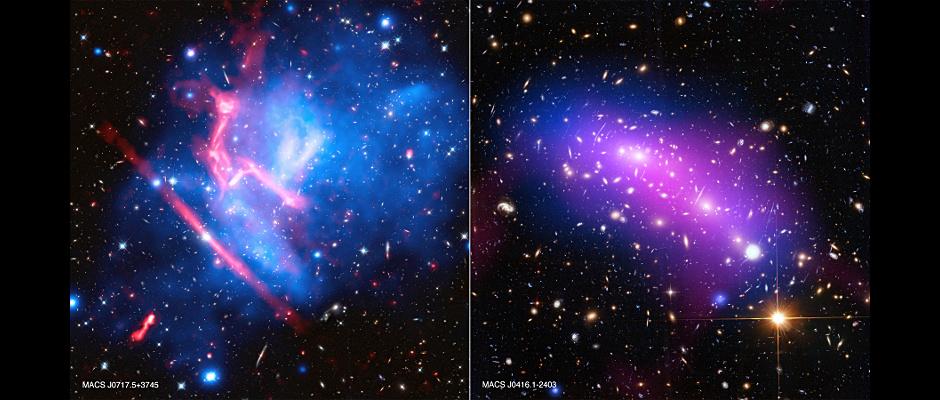 Image credits: (MACSJ0416) X-ray: NASA/CXC/SAO/G. Ogrean et al.; Optical: NASA/STScI; Radio: NSF/NRAO/VLA; (MACSJ0717) X-ray: NASA/CXC/SAO/van Weeren et al.; Optical: NASA/STScI; Radio: NSF/NRAO/VLA.