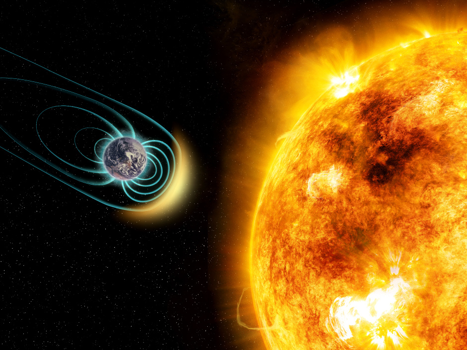 In this artist's illustration, the young Sun-like star Kappa Ceti is blotched with large starspots, a sign of its high level of magnetic activity. New research shows that its stellar wind is 50 times stronger than our Sun's. As a result, any Earth-like planet would need a magnetic field in order to protect its atmosphere and be habitable. The physical sizes of the star and planet and distance between them are not to scale. Image credit: M. Weiss/CfA.
