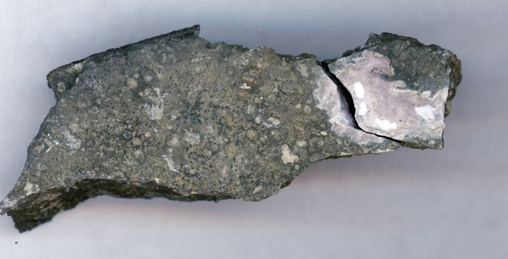 This close-up picture shows a ceramic-like refractory inclusion (pink inclusion) still embedded into the meteorite in which it was found. Refractory inclusions are the oldest-known rocks in the solar system (4.5 billion years old). Analysis of the uranium isotope ratios of such inclusions demonstrates that a long-lived isotope of the radioactive element curium was present in the solar system when this inclusion was formed. Image credit: Origins Lab at the University of Chicago.