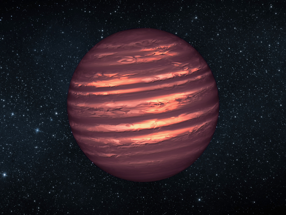 An artist's conception of a brown dwarf known as 2MASSJ22282889-431026. Image credit: NASA/JPL-Caltech.