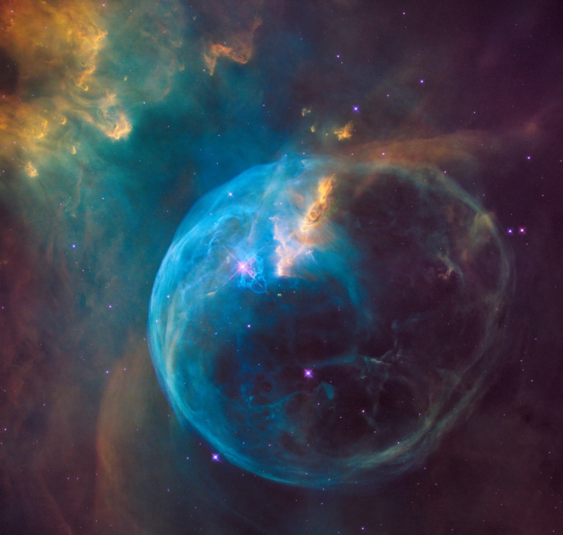 The Bubble Nebula, also known as NGC 7653, is an emission nebula located 8,000 light-years away in the constellation Cassiopeia. This stunning new image was observed by the NASA/ESA Hubble Space Telescope to celebrate its 26th year in space. Image credit: NASA, ESA, Hubble Heritage Team.