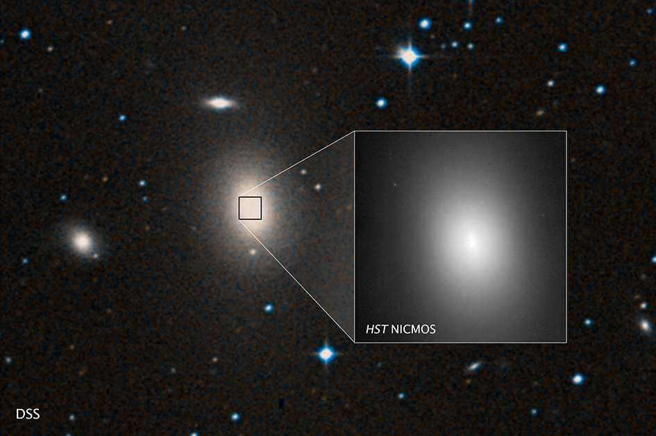 A sky survey image of the massive galaxy NGC 1600, and a Hubble Space Telescope near-infrared closeup of the bright centre of the galaxy where the 17-billion-solar-mass black hole — or binary black hole — resides. Digitised Sky Survey (DSS), STScI/AURA, Palomar/Caltech, UKSTU/AAO, C.-P. Ma (University of California, Berkeley) and A. Quillen (University of Rochester).