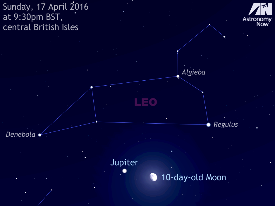 As dusk fades to dark on Sunday, 17April, observers in the British Isles should look up to the southern sky to see the waxing gibbous Moon, almost 11 days old, slightly more than four degrees to the right of planet Jupiter. The largest planet lies in southern Leo, while the Moon is technically in the adjacent constellation of Sextans (The Sextant). Jupiter and the lunar orb will easily fit within the same field of view of most binoculars. For scale, this view is about 40degrees wide, or twice the span of an outstretched hand at arm's length. The Moon's size has been slightly enlarged for clarity. AN graphic by AdeAshford.
