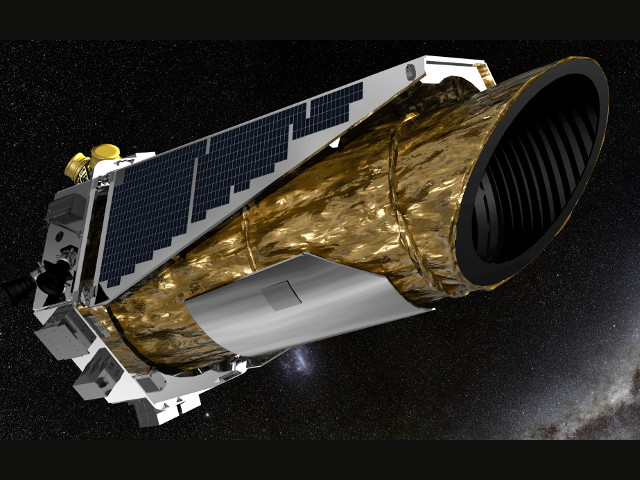 This artist's impression shows NASA's planet-hunting Kepler spacecraft, sporting a 95-cm (37-inch) Schmidt telescope, operating in its new mission profile called K2. Image credit: NASA Ames/JPL-Caltech/T Pyle.