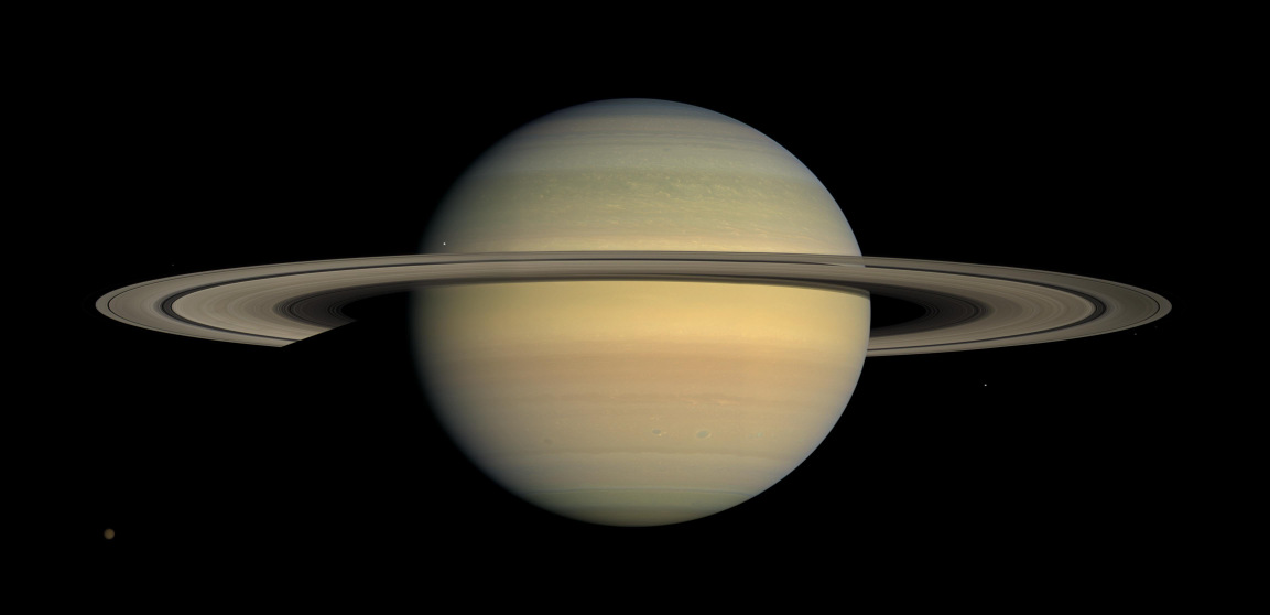 Saturn as seen by NASA's Cassini spacecraft in 2008. Long-term tracking of the spacecraft's position has revealed no unexplained perturbations in Cassini's orbit. Image credits: NASA/JPL/Space Science Institute.