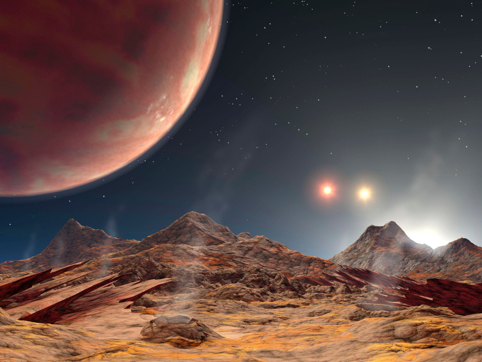 Artist's impression of the view from a hypothetical moon in orbit around a three-star system. The 'hot Jupiter' exoplanet now known as KELT-4Ab orbits a similar triple system, some 685 light-years from Earth. Image credit: NASA/JPL-Caltech.
