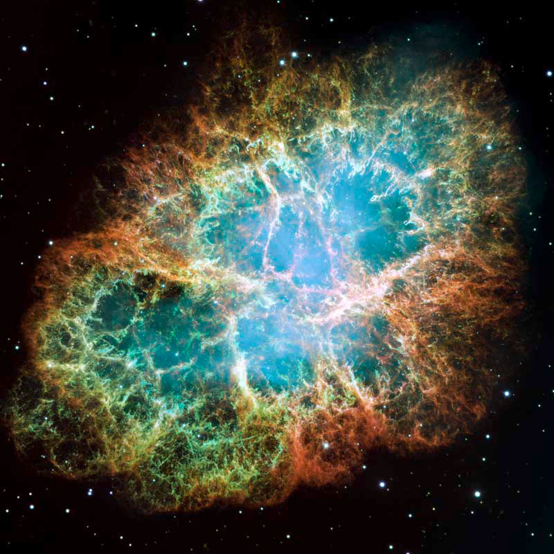 This is a mosaic image taken by NASA's Hubble Space Telescope of the Crab Nebula, a six-light-year-wide expanding remnant of a star's supernova explosion. Recent research shows that galactic cosmic rays flowing into our solar system originate in energetic events like these. Image credits: NASA/ESA/Arizona State University.