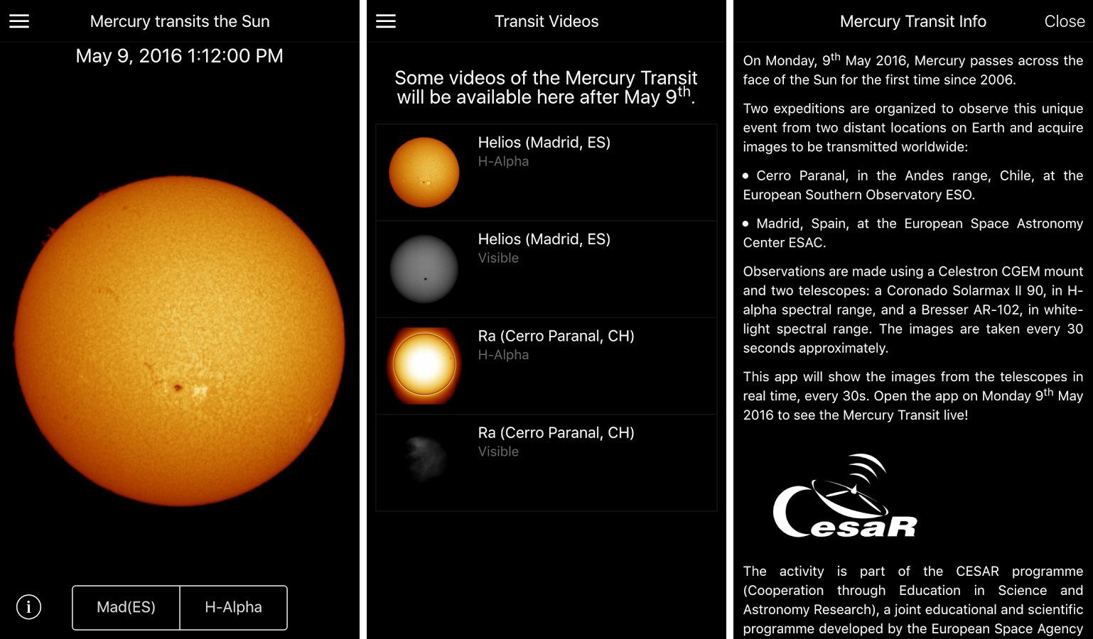 Screenshot credits: CESAR/ESA.