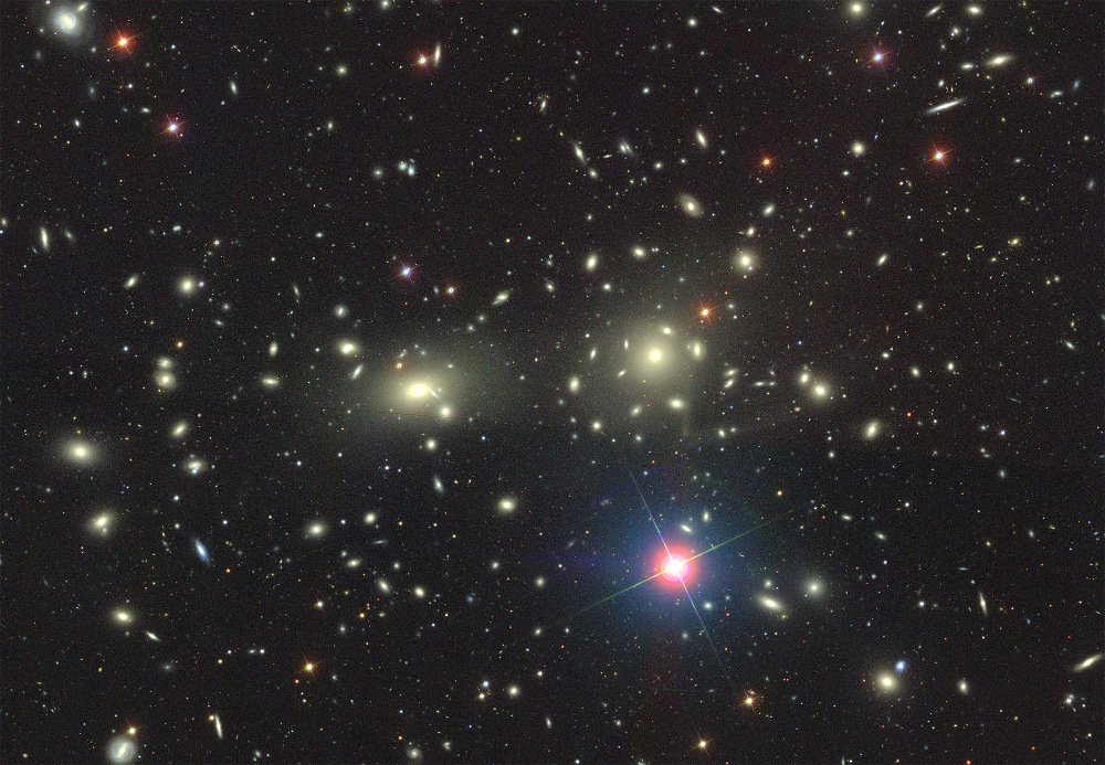 The Coma Cluster is a large cluster of over 1,000 identified galaxies with a mean distance of 321million light-years from Earth. Coma Cluster image from the Sloan Digital Sky Survey. Image credit: Dustin Lang and SDSS Collaboration.