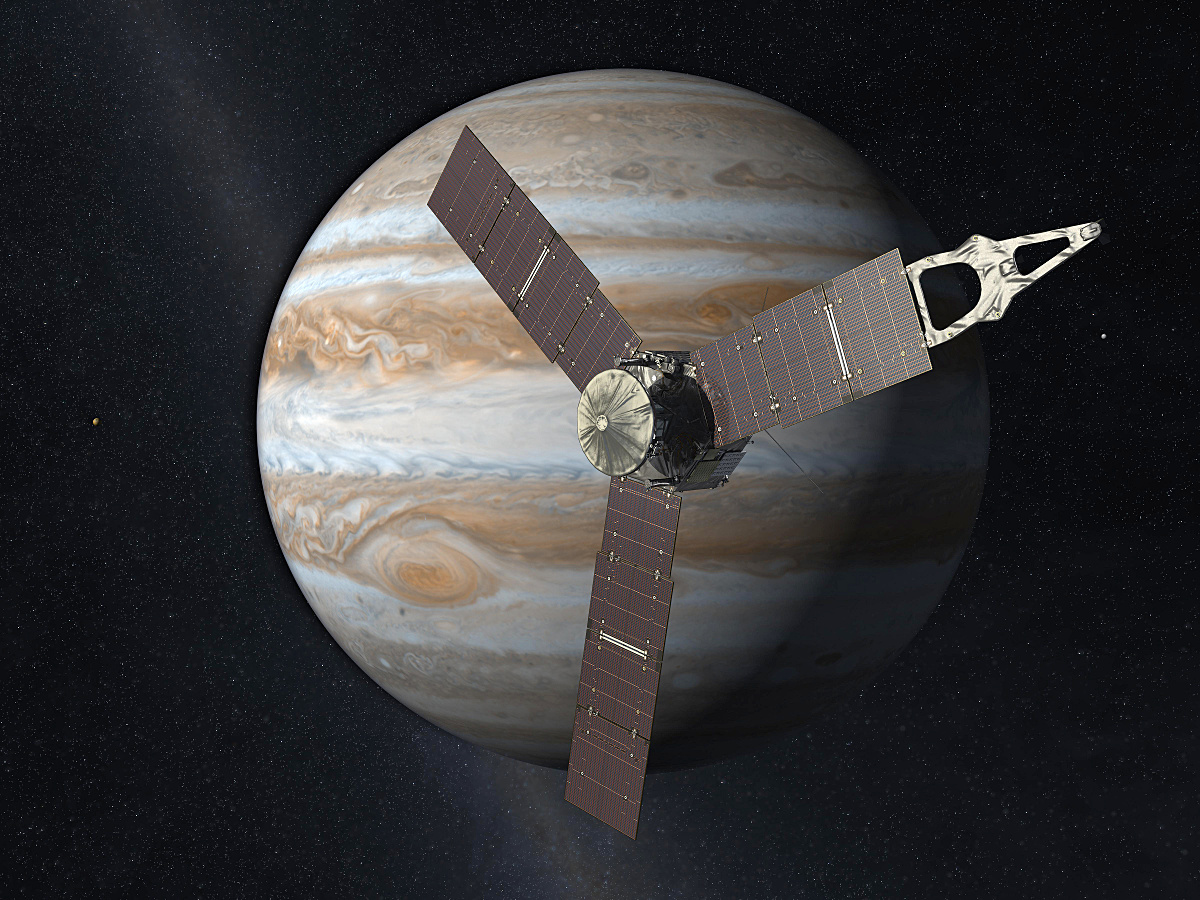 Launched from Earth on 5 August 2011, the Juno spacecraft will arrive at Jupiter on 4 July 2016 to study the giant planet from an elliptical, polar orbit. Juno will repeatedly dive between the planet and its intense belts of charged particle radiation, coming only 5,000 kilometres (about 3,000 miles) from the cloud tops at closest approach. Illustration credits: NASA/JPL-Caltech.