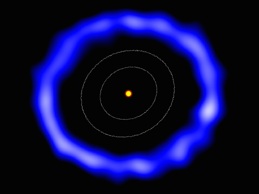 ALMA image of the ring of comets around the Sun-like star HD181327 (colours have been changed). The white contours represent the size of the Kuiper Belt in the Solar System. Illustration credit: Amanda Smith, University of Cambridge.