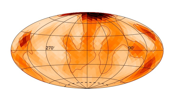 A polar starspot can be seen on the star zeta Andromedae. The placement of the spot shows how the magnetic activity of this large, fast-spinning star differs from the present-day magnetic activity of our Sun. This image is shaped in this way because it's a projection of the star that allows researchers to see the star's entire surface. Image credits: Rachael Roettenbacher and John Monnier.