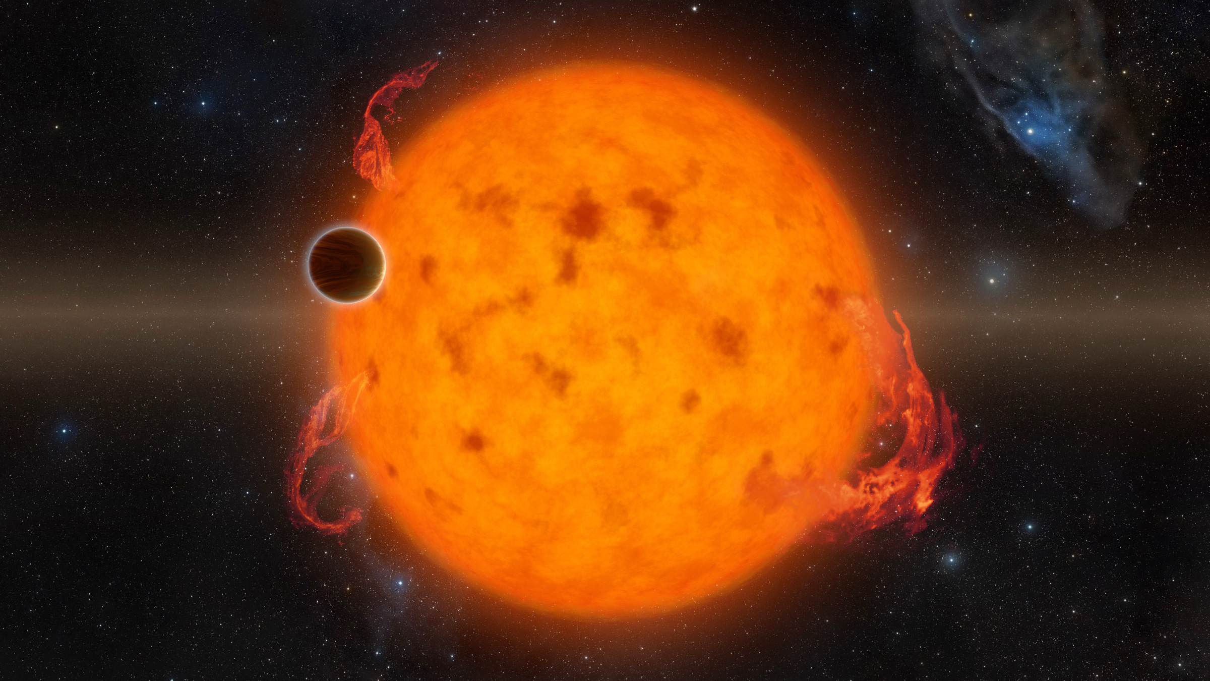 K2-33b, shown in this artist's impression, is one of the youngest exoplanets detected to date. It makes a complete orbit around its star in about five days. These two characteristics combined provide exciting new directions for planet-formation theories. K2-33b could have formed on a farther out orbit and quickly migrated inward. Alternatively, it could have formed in situ. Image credit: NASA/JPL-Caltech.