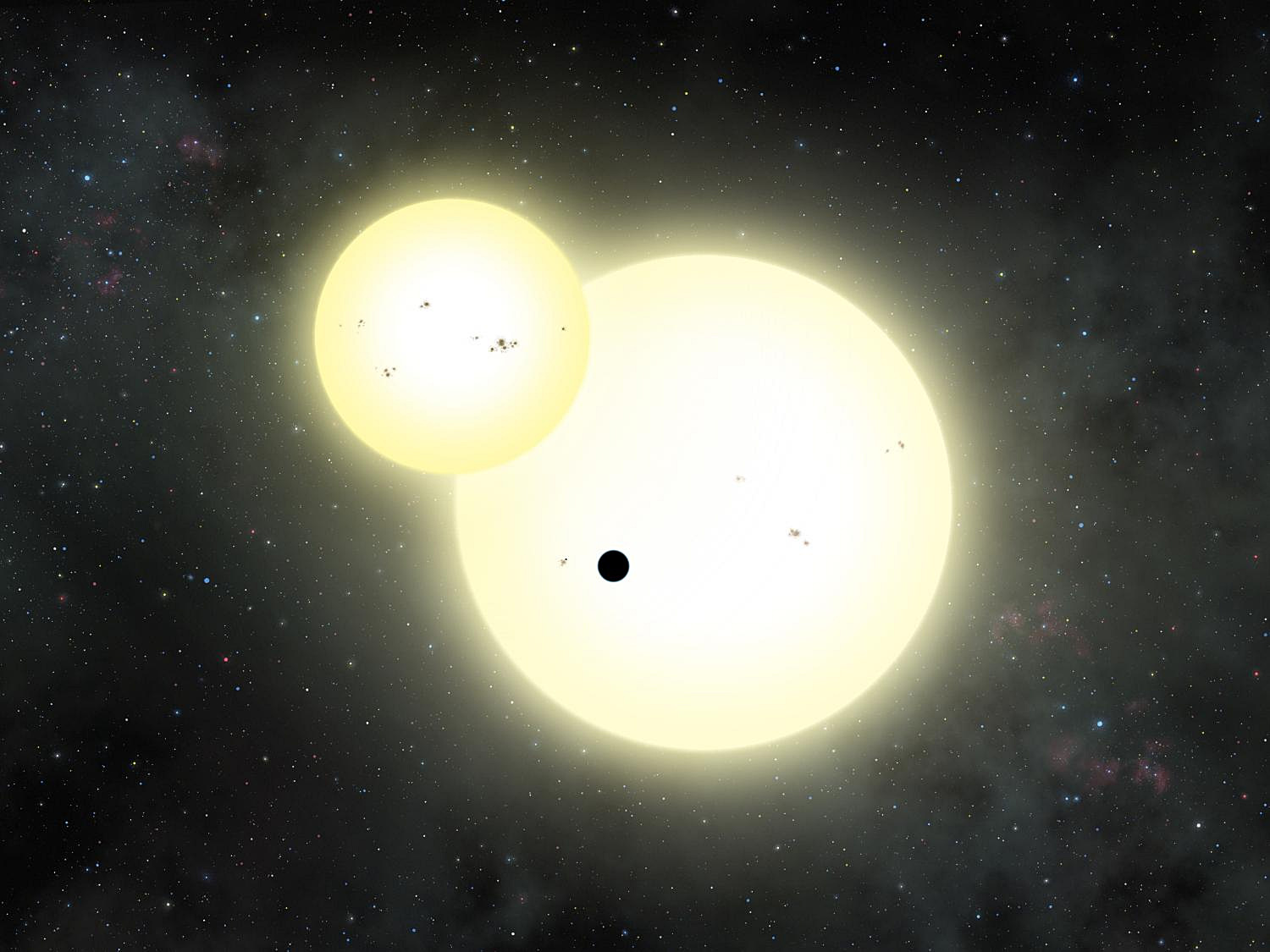 Artist's impression of the simultaneous stellar eclipse and planetary transit events on Kepler-1647 b. Such a double eclipse event is known as a syzygy. Illustration credit: Lynette Cook.