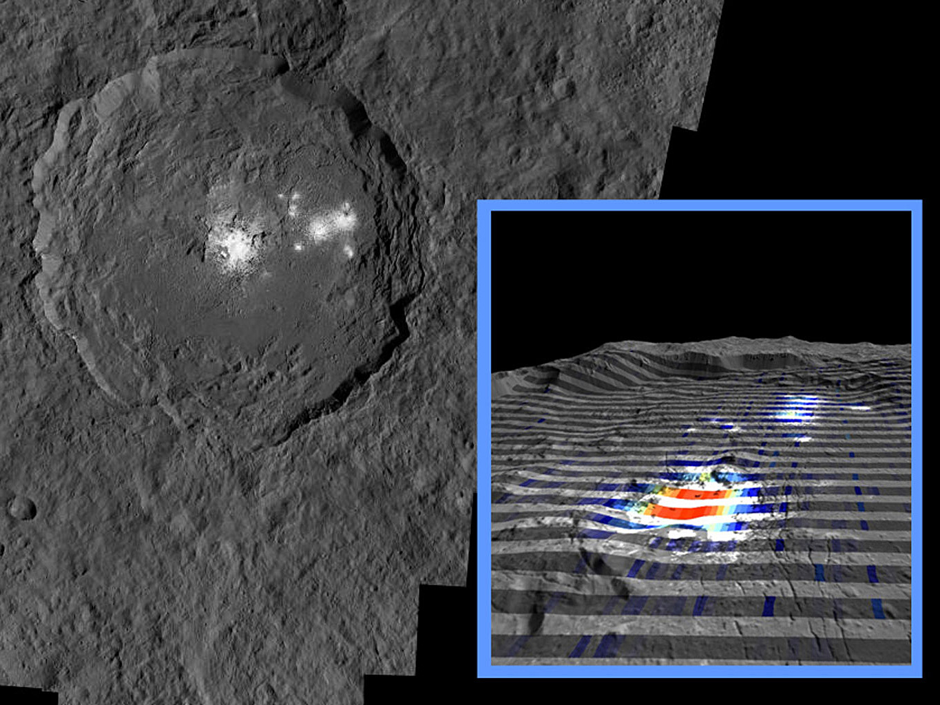 The centre of Ceres' mysterious 57-mile-wide Occator Crater is the brightest area on the dwarf planet. Image credit: NASA/JPL-Caltech/UCLA/MPS/DLR/IDA/ASI/INAF.