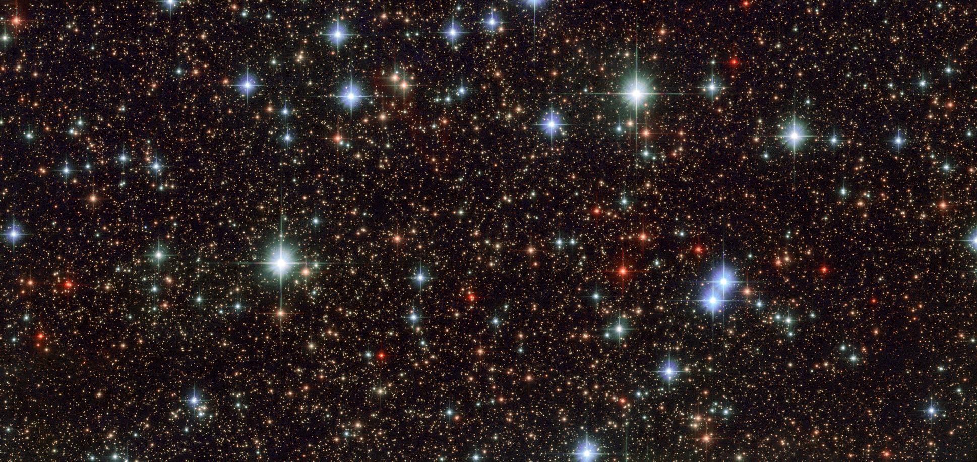 "This extreme zoom view of a star field in Sagittarius by the NASA/ESA Hubble Space Telescope is just 3.2 by 1.5 arcminutes (0.054° x 0.026°) in size, centred on &aplha;=17h 47m 51.34s, δ=-24° 42' 17.02"". Click the image for a full-size version. Image credit: ESA/Hubble & NASA."